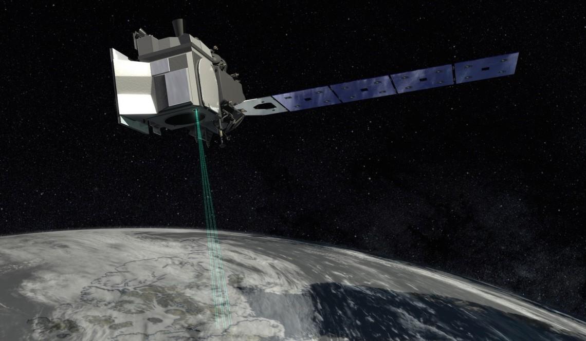 instrument on dark sky above Earth
