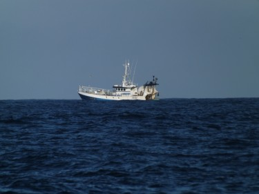 A trawling vessel fishing in the Celtic Sea.