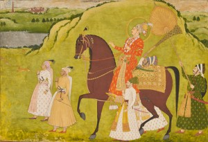 Image: Maharaja Abhai Singh on Horseback, c. 1725, Dalchand, Jodhpur, opaque watercolor and gold on paper, Mehrangarh Museum Trust, photo: Neil Greentree.