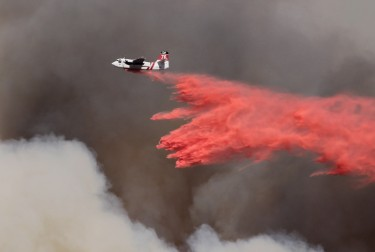 Dropping fire retardant during the 2013 Springs Fire in California.