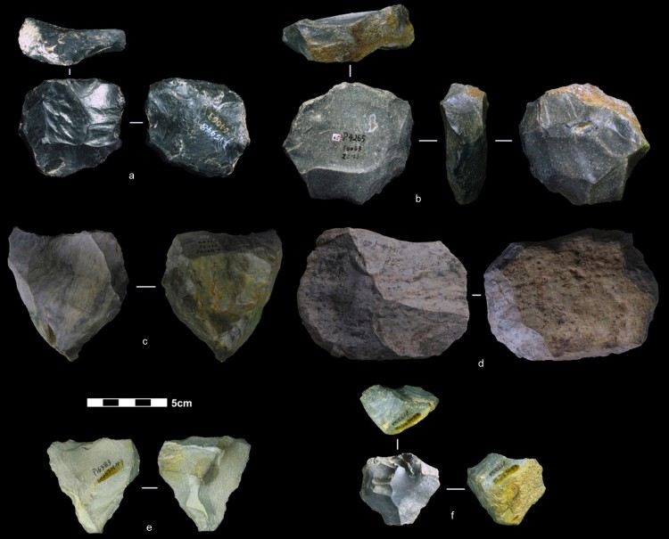 These artifacts found in China are among the nearly four dozen that reflect the Levallois technique of toolmaking. In a paper published Nov. 19 in Nature, researchers date these artifacts to between 80,000 and 170,000 years ago. Photo of various stones, shaped by knapping.