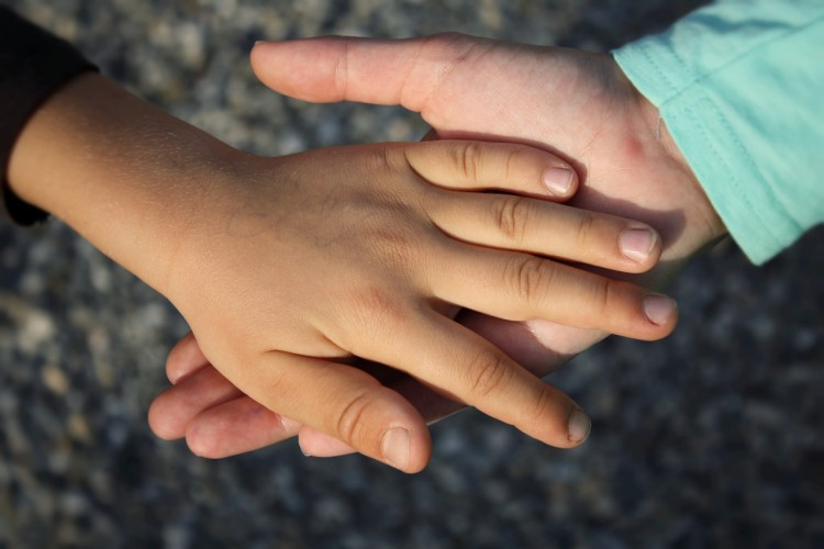 A study of 6- to 8-year-old children by the University of Washington and Temple University found that the anticipation of touch was associated with executive function skills such as selective attention and working memory. Photo of children's hands.