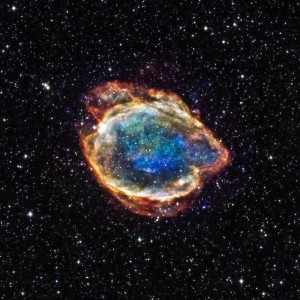 An image of a section of night sky, showing a supernova remnant.