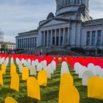 Mock headstones outside the State Capitol mark the number of people who died by suicide in Washington in one year. Forefront Suicide Prevention, based at the University of Washington, places the headstones as part of its annual Education Day event in Olympia. Photo of hundreds of headstones on the lawn in front of the State Capitol building.