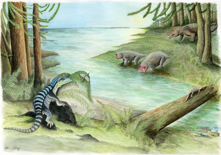 An illustration of a forest in Antarctica 250 million years ago, showing reptiles that lived there.