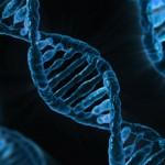 Blue DNA strand cartoon