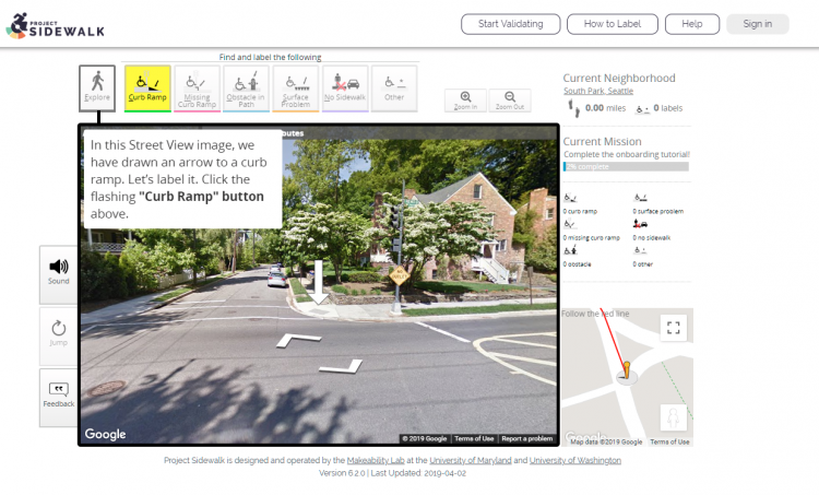 screenshot of the Project Sidewalk onboarding process