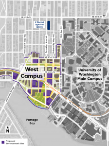 Map of University of Washington's West Campus in Seattle, WA.