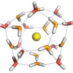 A chemical structure of water molecules.
