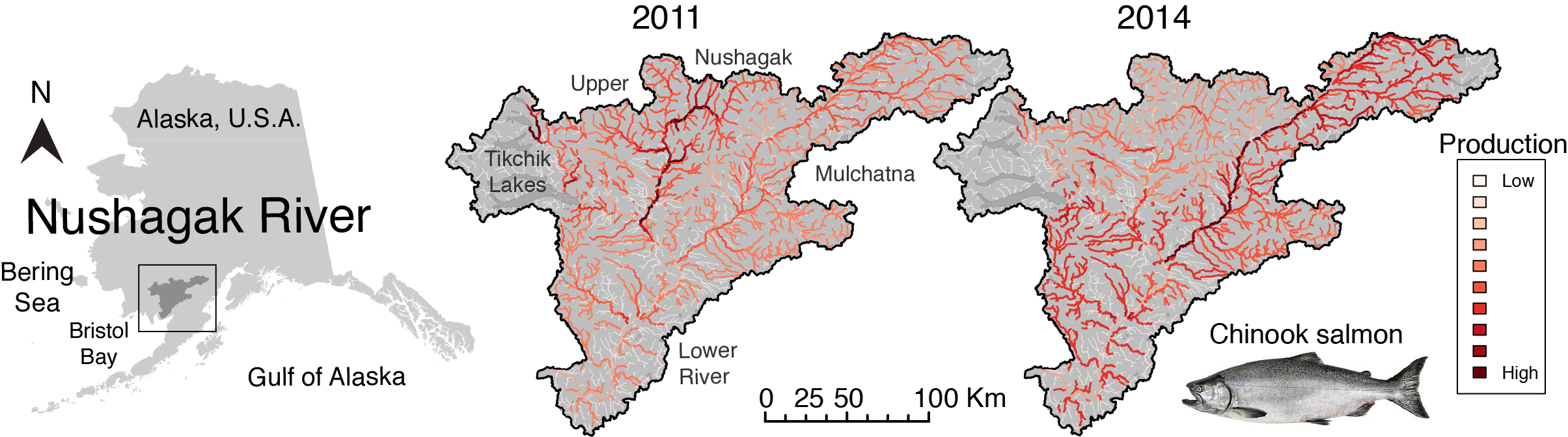 map showing productive areas of the basin year to year