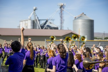 The Husky Marching Band played during a thank you celebration for the Grant County community after a Thanksgiving day bus accident.