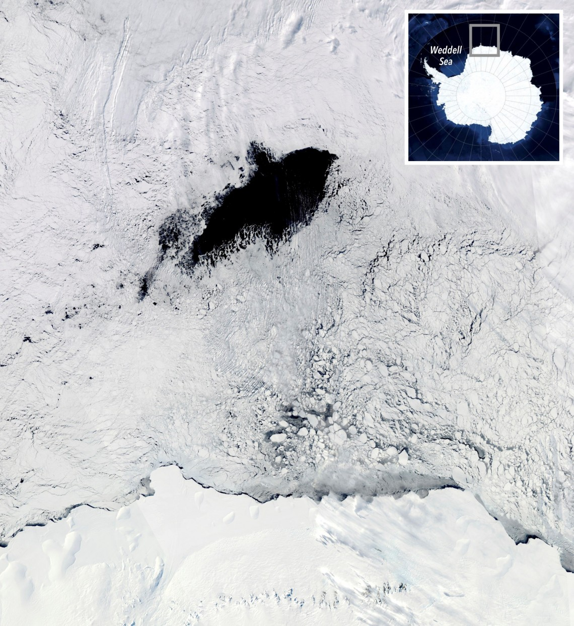 map of white ice with dark hole