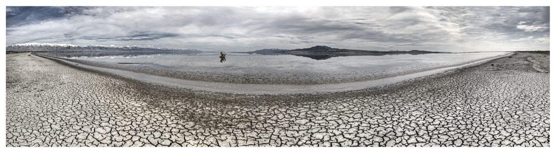 fisheye view of cracked mud