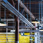 A factory ceiling with low hanging lights