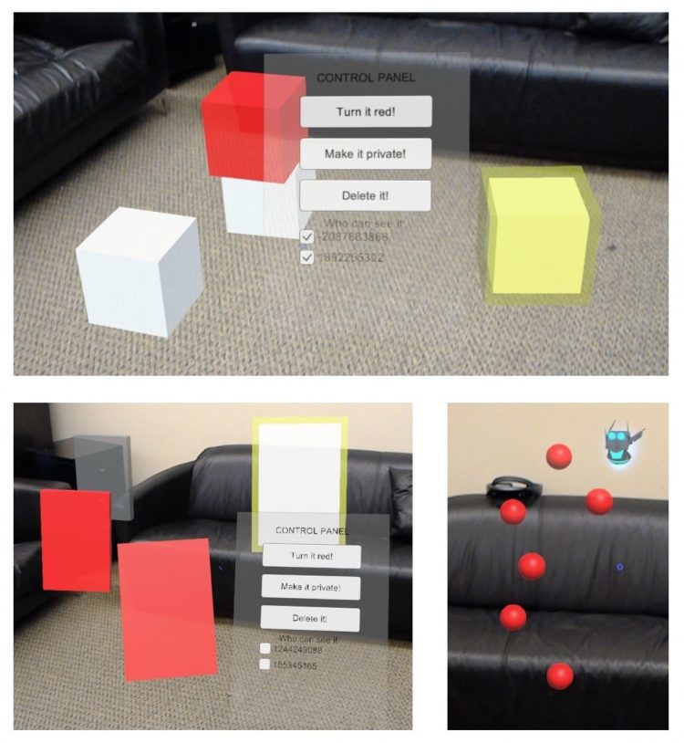 Three example case study apps, one showing virtual blocks over a living room, one showing virtual notes over the living room and one showing red paintballs over the living room.