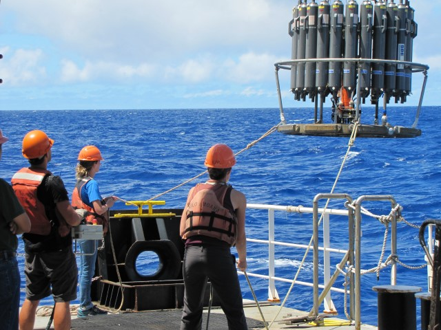 The research team collects samples in the North Pacific.