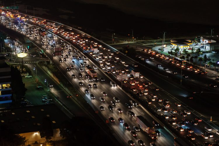 A traffic jam on a huge freeway at night