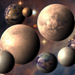 Image is illustration of several possibly habitable worlds