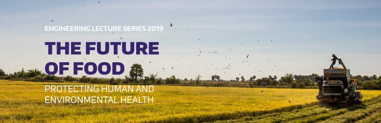 Future of food banner. Purple text over a picture of people harvesting rice