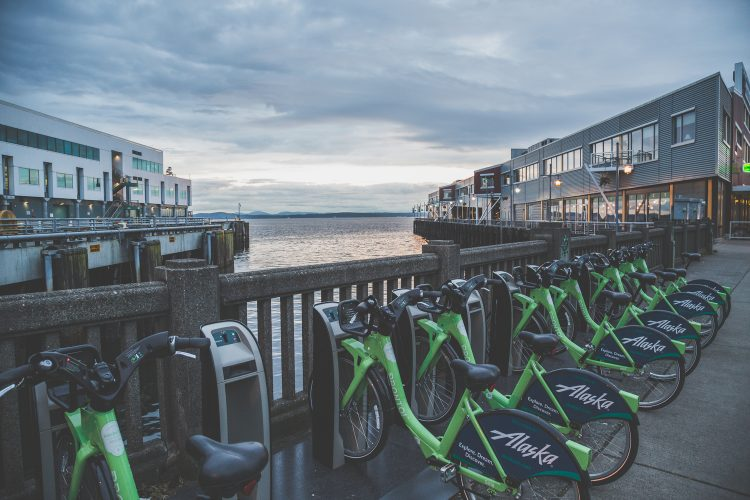 Docked Pronto bikes along Seattle's waterfront