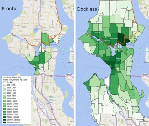 A map showing the number of starting points for Pronto or dockless bike trips. The dockless bike trips are spread throughout Seattle, and many neighborhoods that didn't have the Pronto docks show high dockless bike ridership.