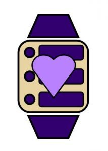 A drawing of an activity tracker with a purple heart on top