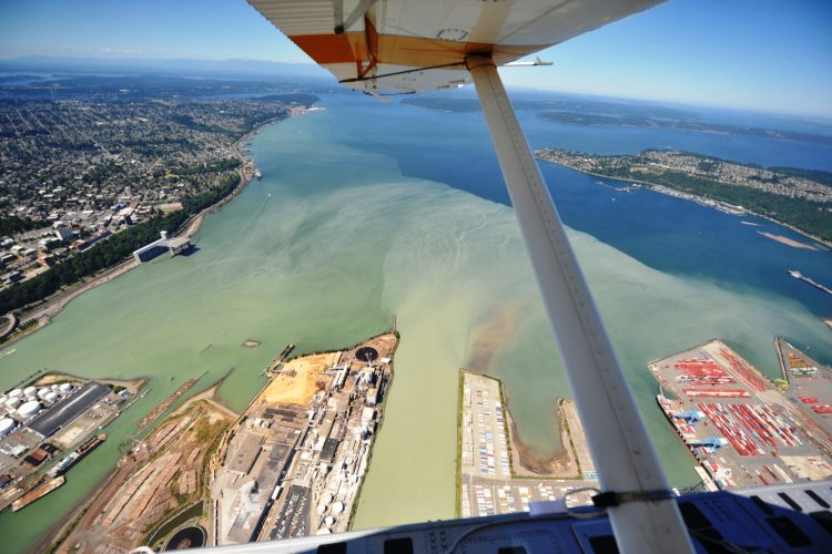 A view of Commencement Bay from a plane