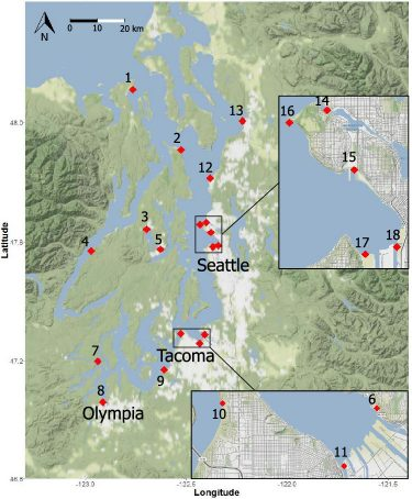 A map showing the 18 regions of Puget Sound where researchers collected water