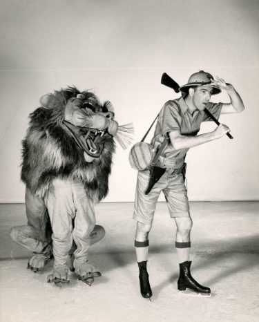 "Actors Ole Ericsen and John Mulvey are shown in ""Agnes the Lion,"" a skit in the Ice Follies of 1949. It's part of the J. Willis Sayre Collection of Theatrical Photographs, and was recent item in the UW Libraries social media accounts, curated by librarian Allee Monheim."