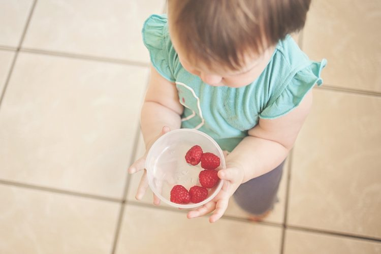 Toddler offers bowl of raspberries to camera.