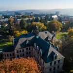 aerial view of UW campus with Seattle in background