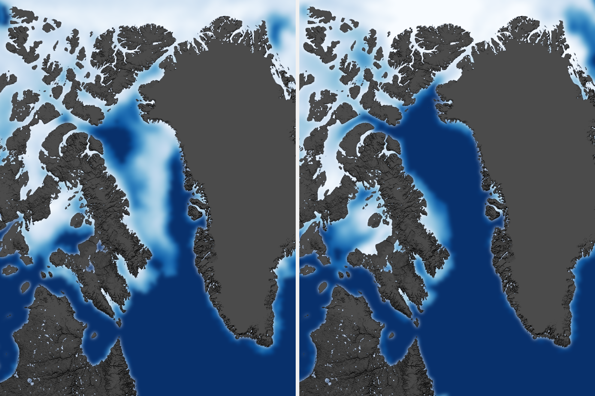 The map from the 1990s shows white ice stretching over the entirety of Baffin Bay while the more recent map on the right shows no ice that spans the bay