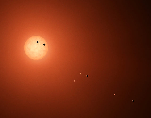 Artist's depiction of the TRAPPIST-1 star and its seven worlds.
