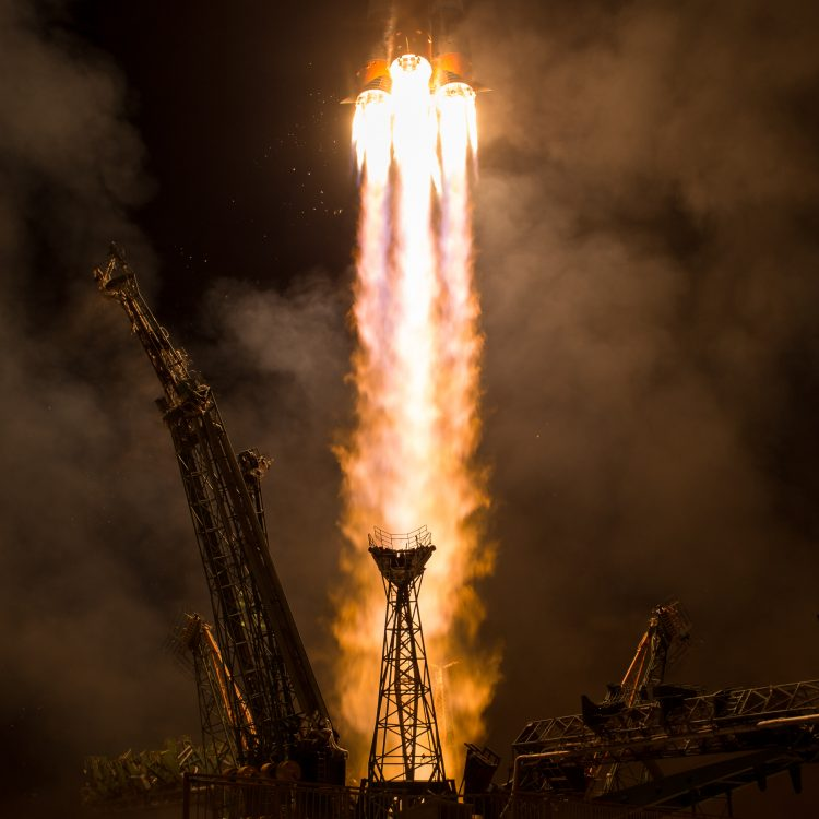 A rocket takes off