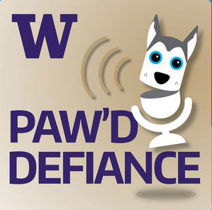 Logo for Paw'd Defiance, a podcast being produced by UW Tacoma