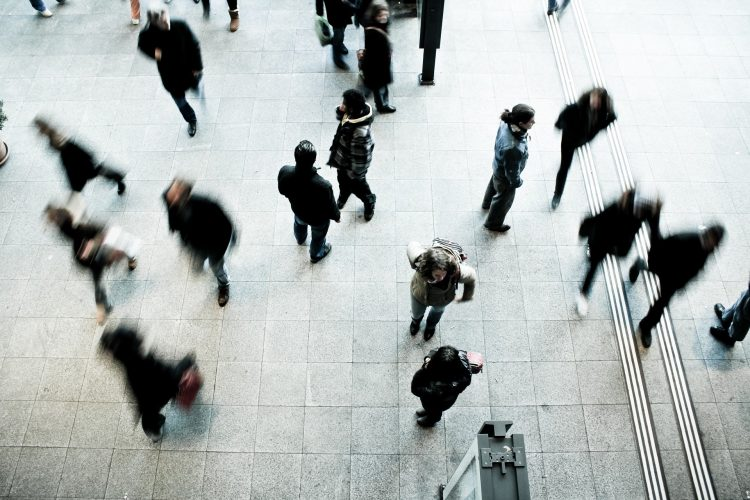 People walking in crowd