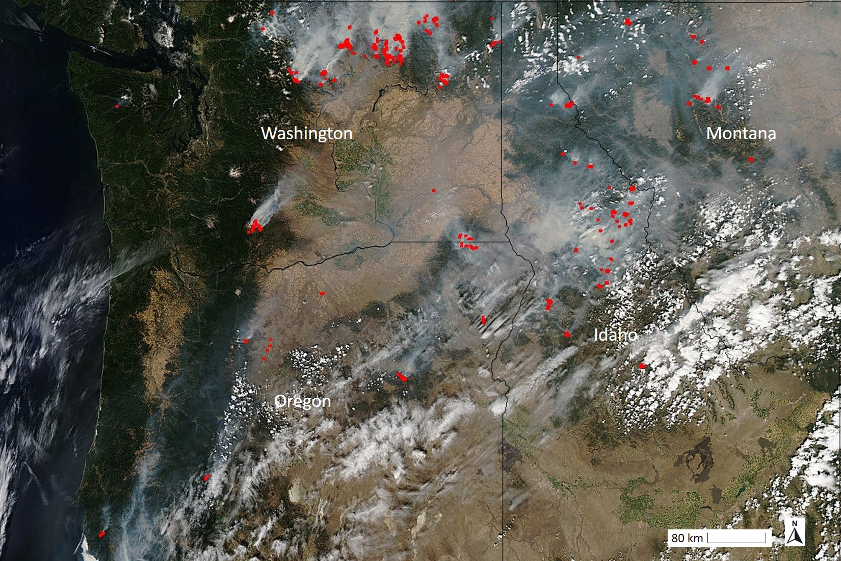Red dots highlight the location of wildfires, all of which have white smoke coming from them