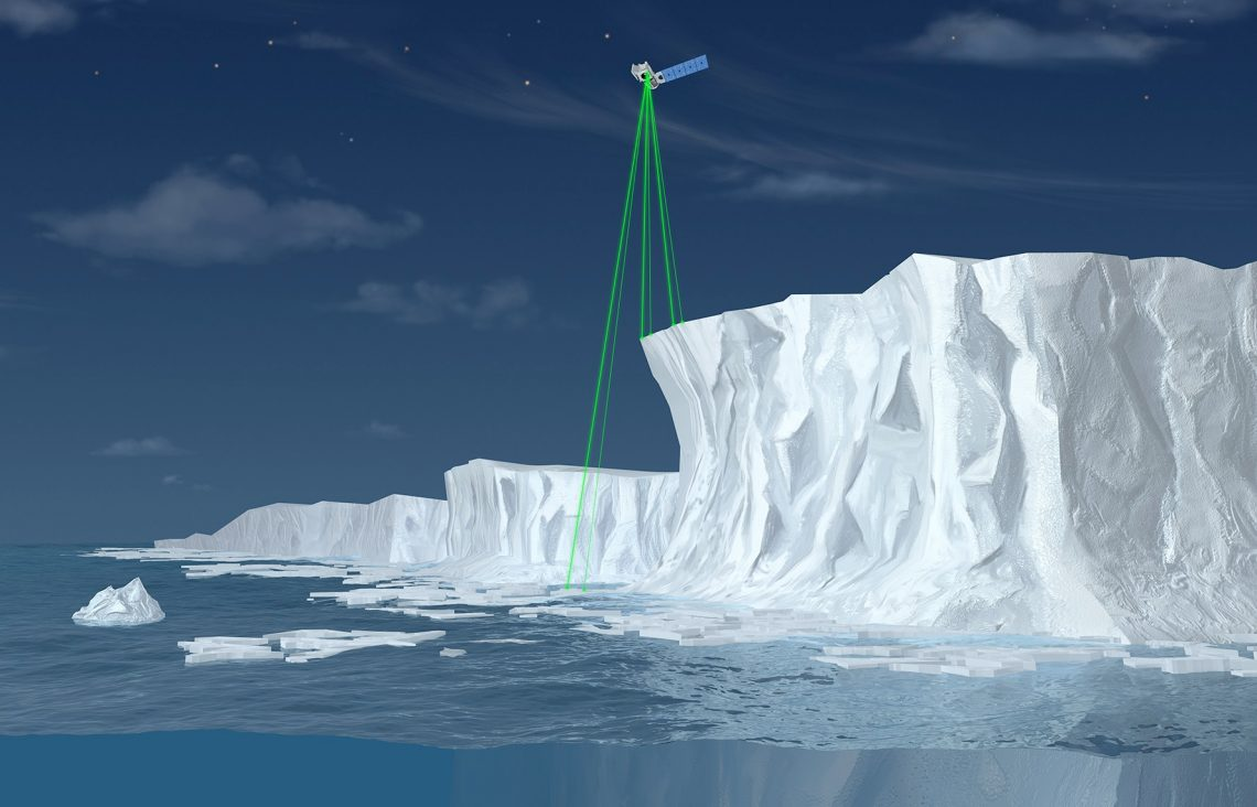 illustration of green lasers above large ice sheet