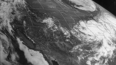 satelite image of Mount St. Helens eruption