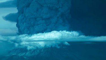 mountain erupting