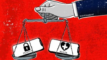 "a ""government"" arm balances privacy and health on a scale"