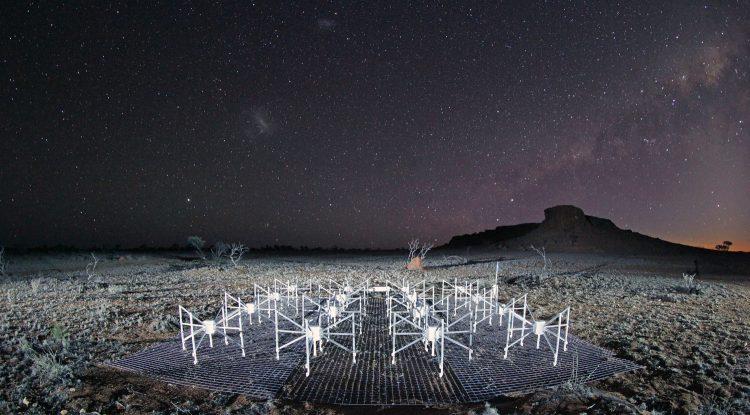 A picture of a radio telescope in a remote region of Australia.