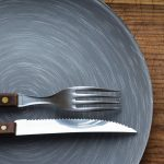 a plate, knife and fork