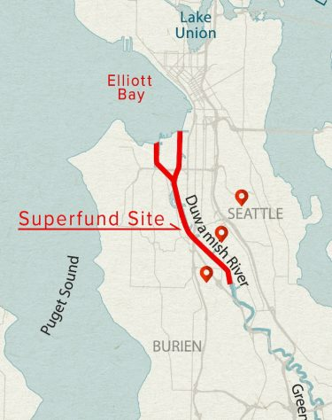 map of seattle area with duwamish river in red