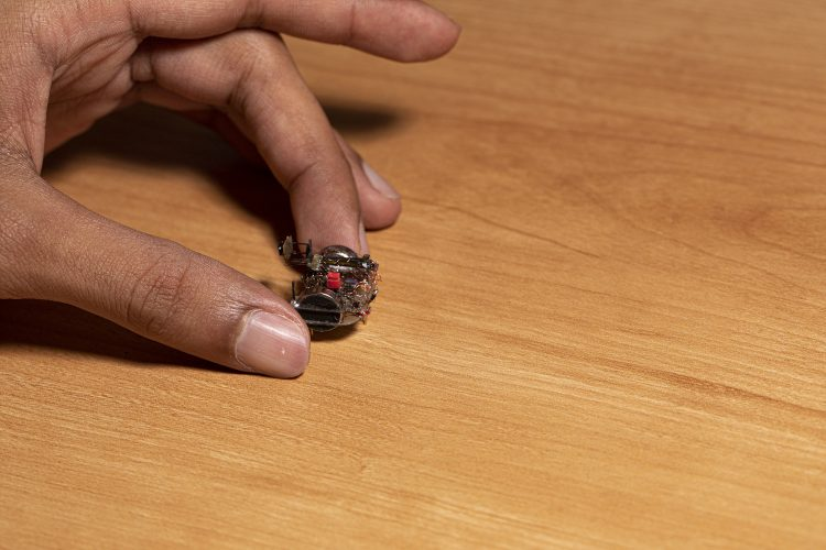 A hand holding an insect-sized robot on a table