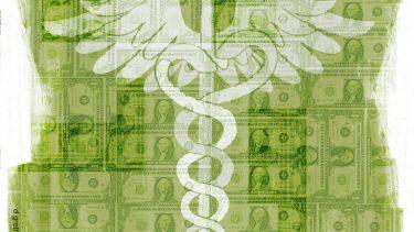 dollar bills superimposed on health symbol