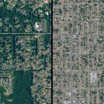aerial view of two neighborhoods with different tree cover