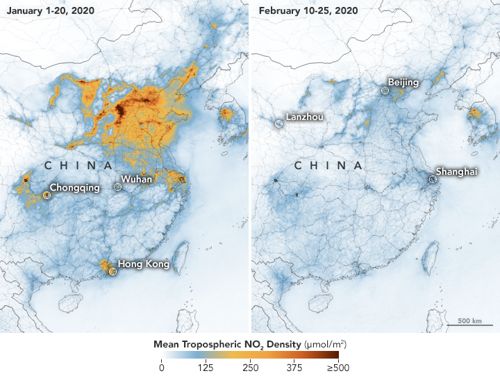 A map of China shows the air before and after the lockdown.