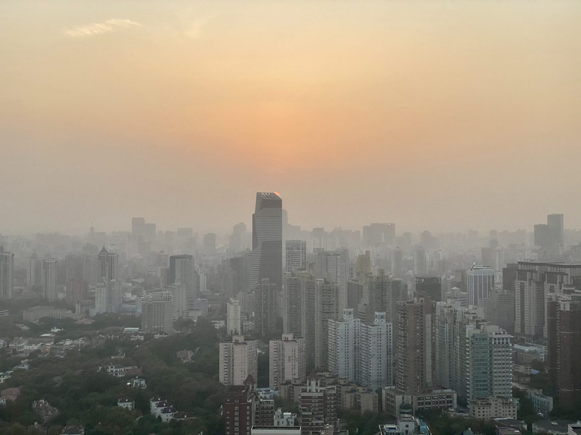 city with smoggy skies
