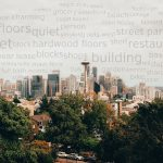 words in the sky of a seattle neighborhood